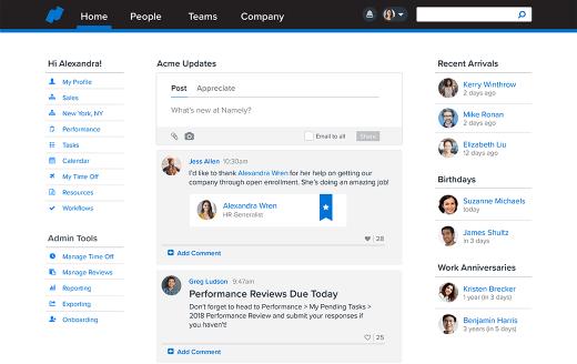 "Namely HRIS platform screenshot to illustrate the ""human"" side of trending HRIS dashboards."