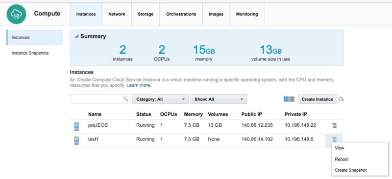 Oracle Cloud Screenshot