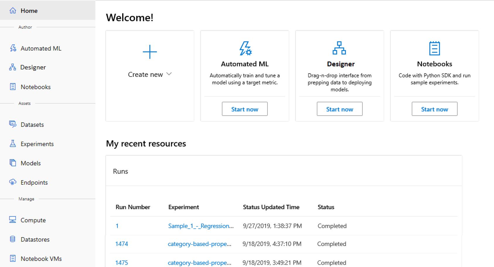 Azure Machine Learning screenshot
